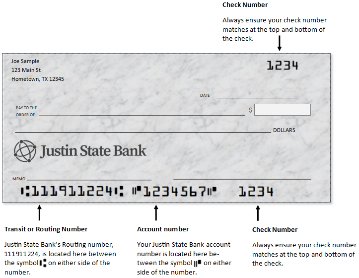 A check with Justin State Banks Routing Number information at the bottom left 111911224